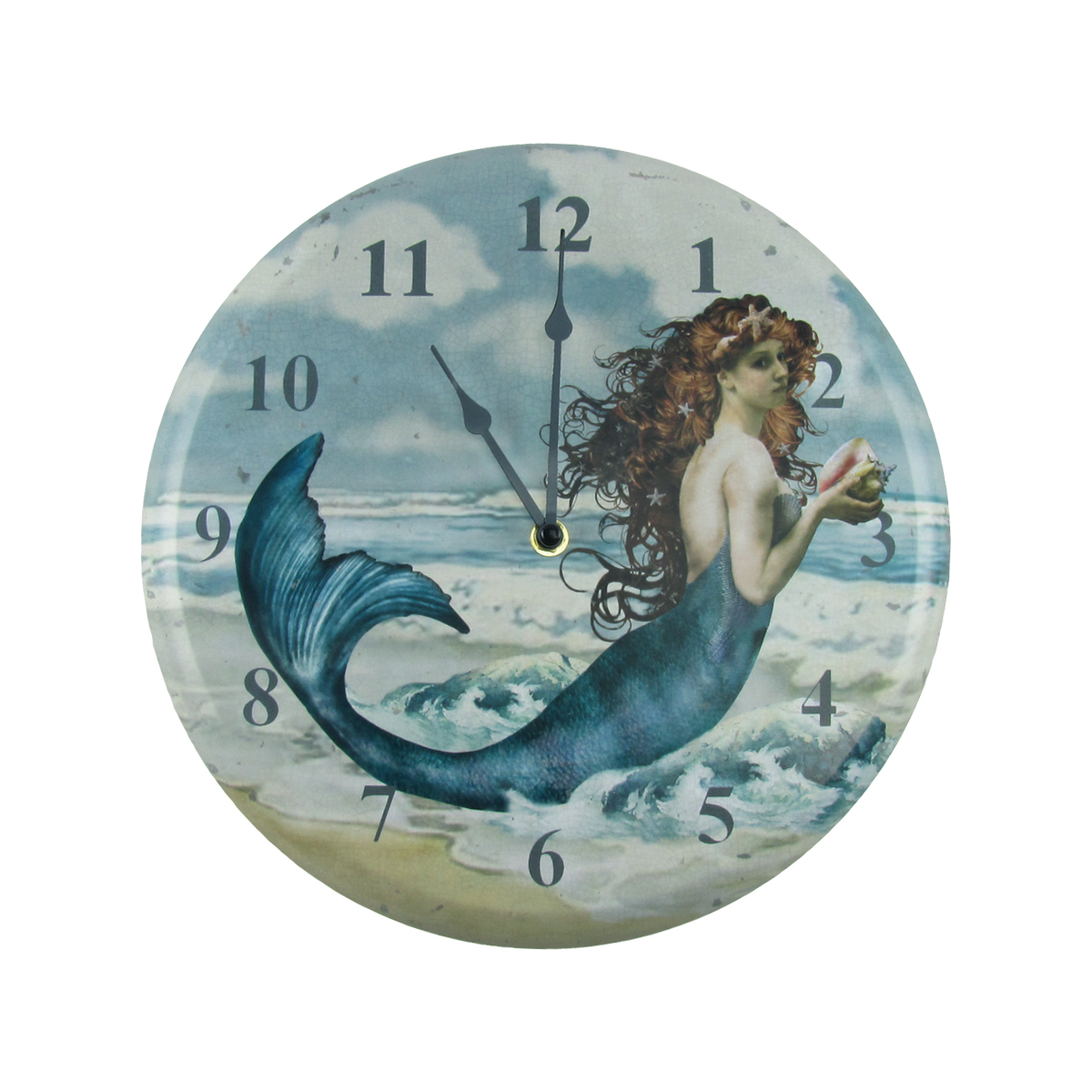 Distressed Look Mermaid Wall Clock Nautical Beach House Coastal Home Ocean Decor