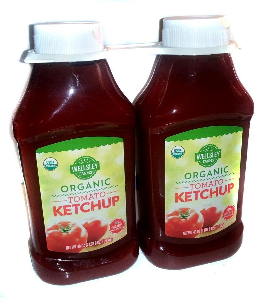 Wellsley Farms Organic Tomato Ketchup - 2 Pack Bottles - 40 oz. Each