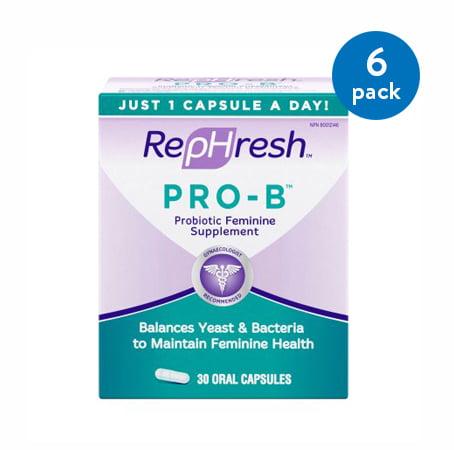 (6 Pack) RepHresh Pro-B Probiotic Feminine Supplement Capsules, 30 Count