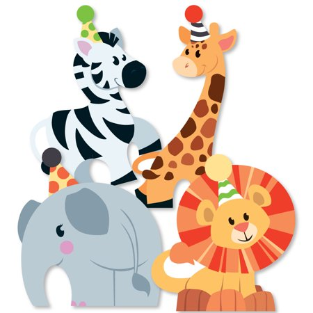 Jungle Party Animals - Elephant, Giraffe, Lion and Zebra Decorations DIY Safari Zoo Animal Birthday Party or Baby Shower - Party City Safari Baby Shower