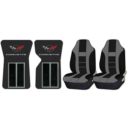 Official Licensed Corvette C3 68-82 Black Floor Mats & UAA Gray/Black Universal High Back Front Seat (Black Front Seat Floor)