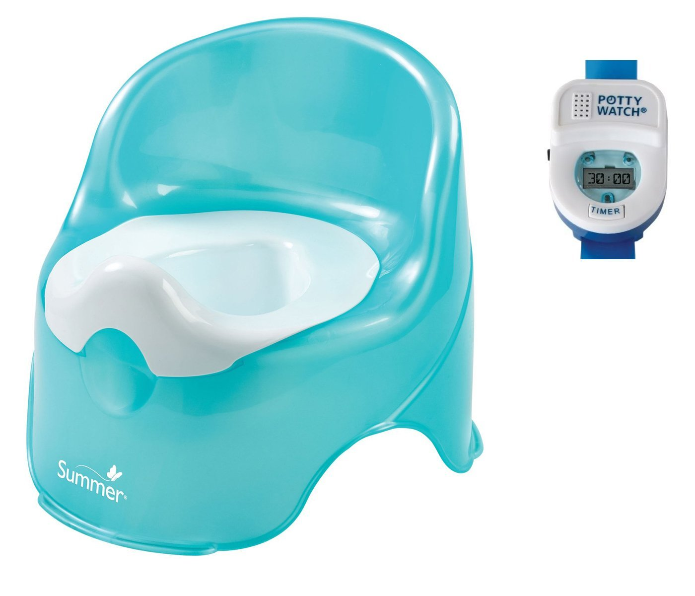 Summer Infant Lil' Loo Toddler Potty with Blue Potty Watch Toilet Trainer by Summer Infant