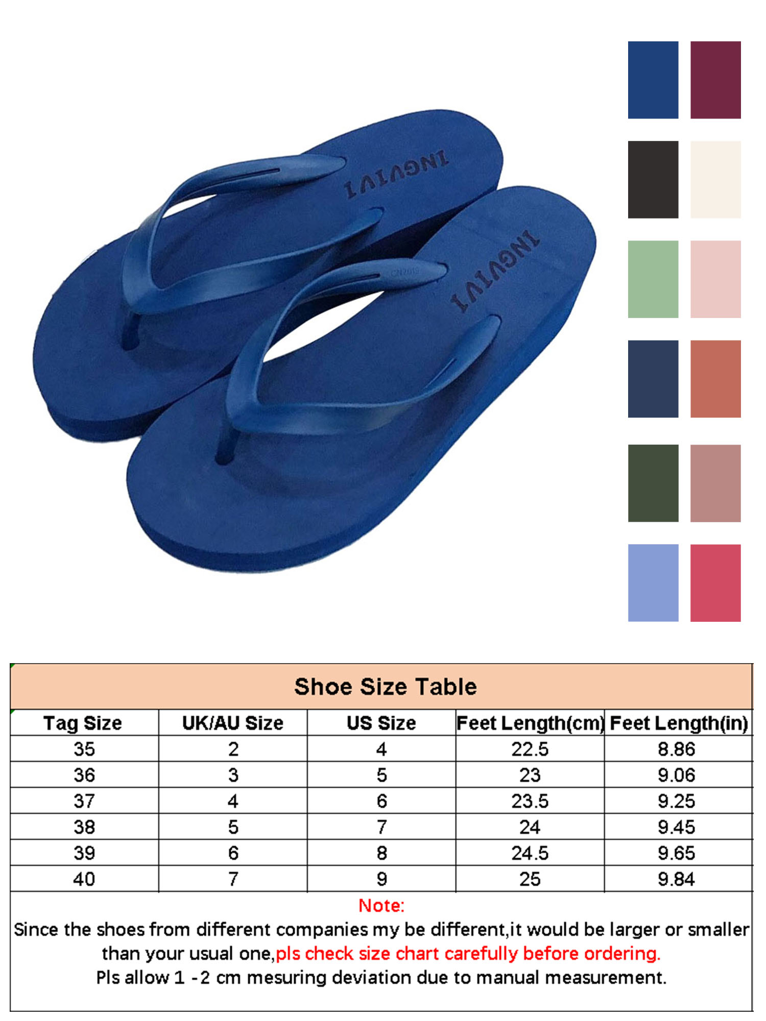 Details about  /Women/'s Flip Flops Solid Bright Colors NEW 1//2 Inch Heel Swimming Pool