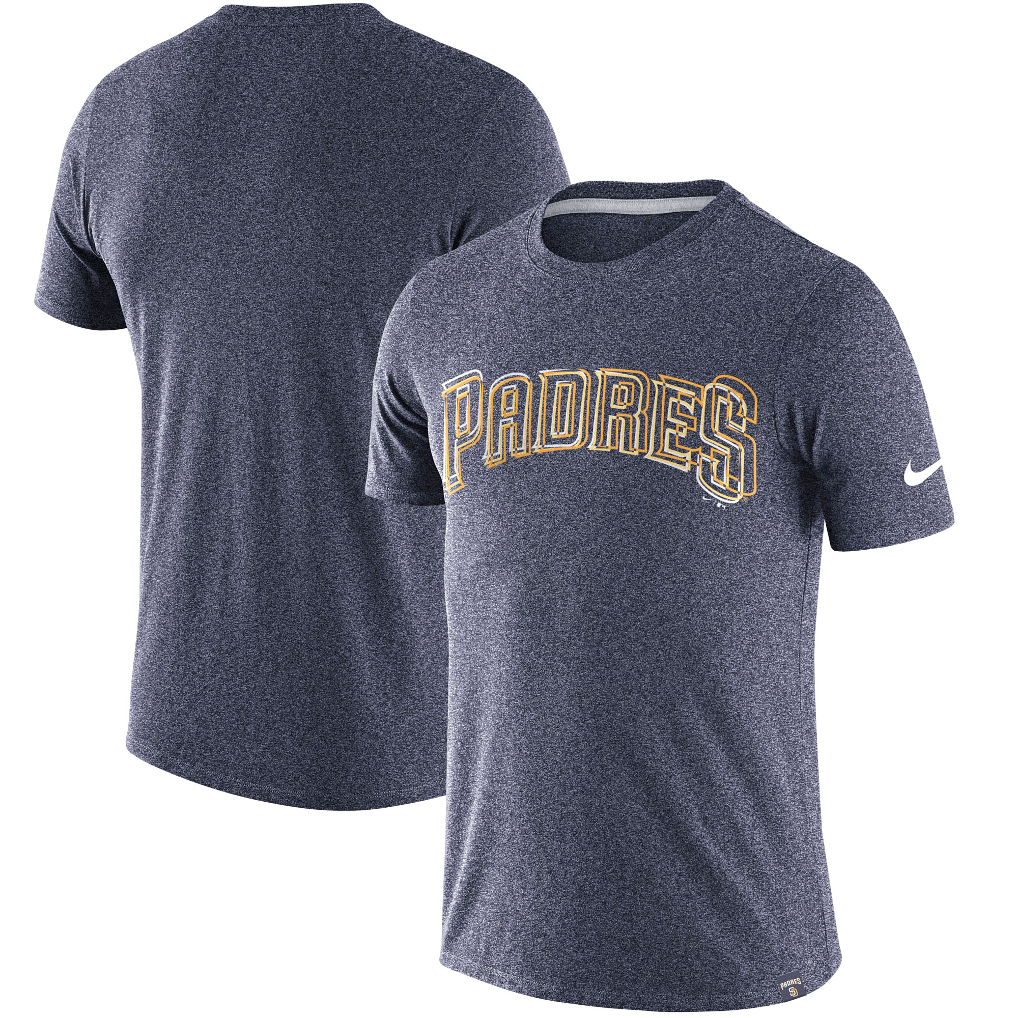 Men's Nike Heathered Navy San Diego Padres Marled Wordmark T-Shirt