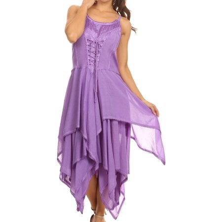 Sakkas Lady Mary Jacquard Corset Style Bodice Lightweight Handkerchief Hem Dress - Lavender - One Size Plus (Halloween Corset Dresses)