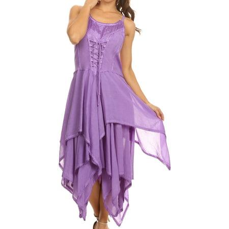 Sakkas Lady Mary Jacquard Corset Style Bodice Lightweight Handkerchief Hem Dress - Lavender - One Size Plus - Corset Tutu Dresses