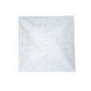 Satco 12in Square Glass Shade Fancy Clear Floral