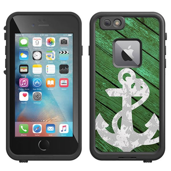 on sale e3d90 f0a12 SKIN DECAL FOR LifeProof FRE Apple iPhone 6 Plus Case - Anchor on Green  Wood DECAL, NOT A CASE
