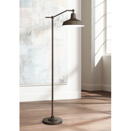 - 360 Lighting Modern Downbridge Floor Lamp Satin Bronze Metal Shade Step Switch for Living Room Reading Bedroom Office