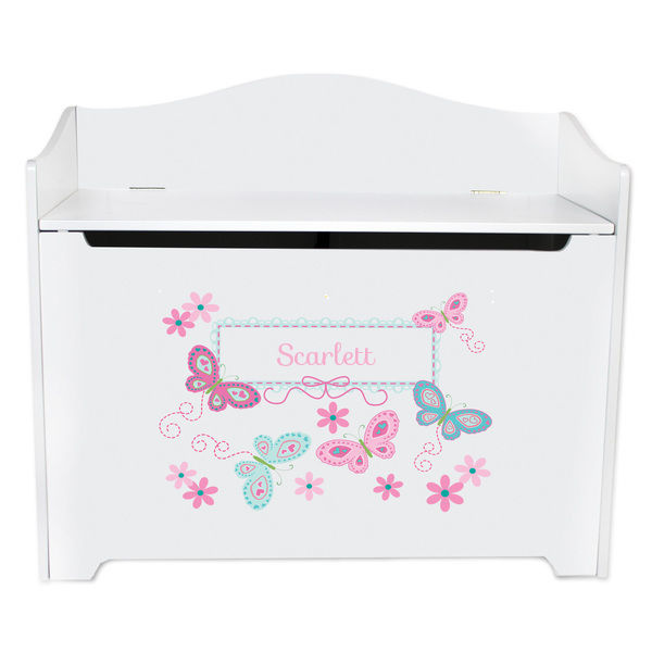 Personalized Toy Box Bench with Aqua Butterflies Design