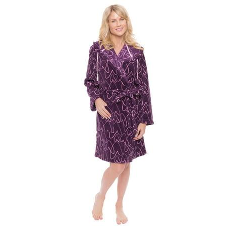 Women's Coral Fleece Short Hooded Robe - Polka Dots - Red/Black - XL (Hooded Robe Short)