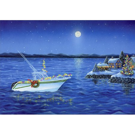 LPG Greetings Holiday Boat Deluxe Glitter: Box of 14 Elaine Maier Nautical Christmas Cards