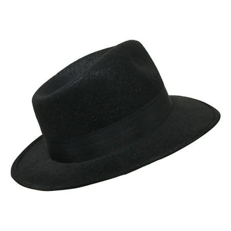 764e5d91a022e Adult Gangster Hat Al Capone Black Fedora Blues Brother Costume Accessory -  Walmart.com
