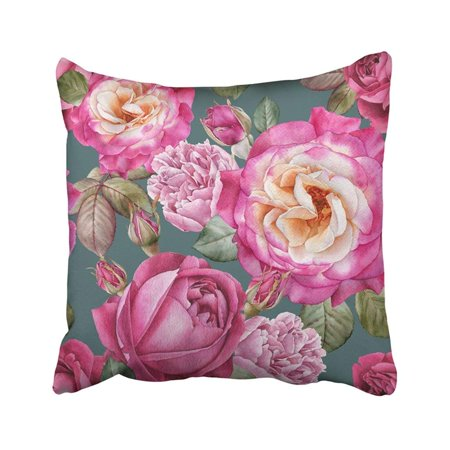 RYLABLUE Colorful Beautiful Floral With Watercolor Roses And Peonies Pink Bloom Blossom Botanical Pillowcase Throw Pillow Cover Case 18x18 inches - image 1 de 2