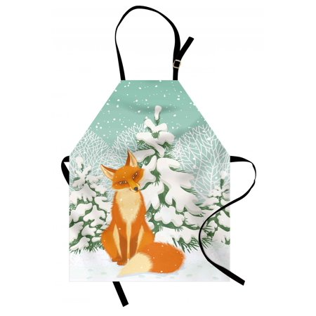 Fox Apron Red Fox Sitting in Winter Forest Snow Covered Pine Trees Xmas Cartoon, Unisex Kitchen Bib Apron with Adjustable Neck for Cooking Baking Gardening, Orange White Almond Green, by Ambesonne
