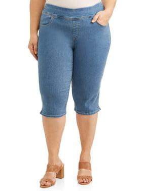 Terra & Sky Women's Plus Size Stretch Pull-On Capri with Tummy Control Comfort Waistband