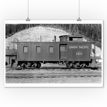 Washington - Union Pacific Caboose - OWR&N Railroad (9x12 Art Print, Wall Decor Travel Poster)