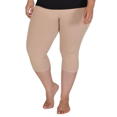 Plus Size Circuit Knee-Length Leggings - X-Large (12-14) / Beige
