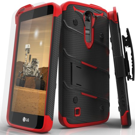 LG K7 Case, Zizo [Bolt Series] w/ FREE [LG K7 Screen Protector] Kickstand  [Military Grade Drop Tested] Holster Belt Clip- LG K7 / LG K8 / Tribute 5