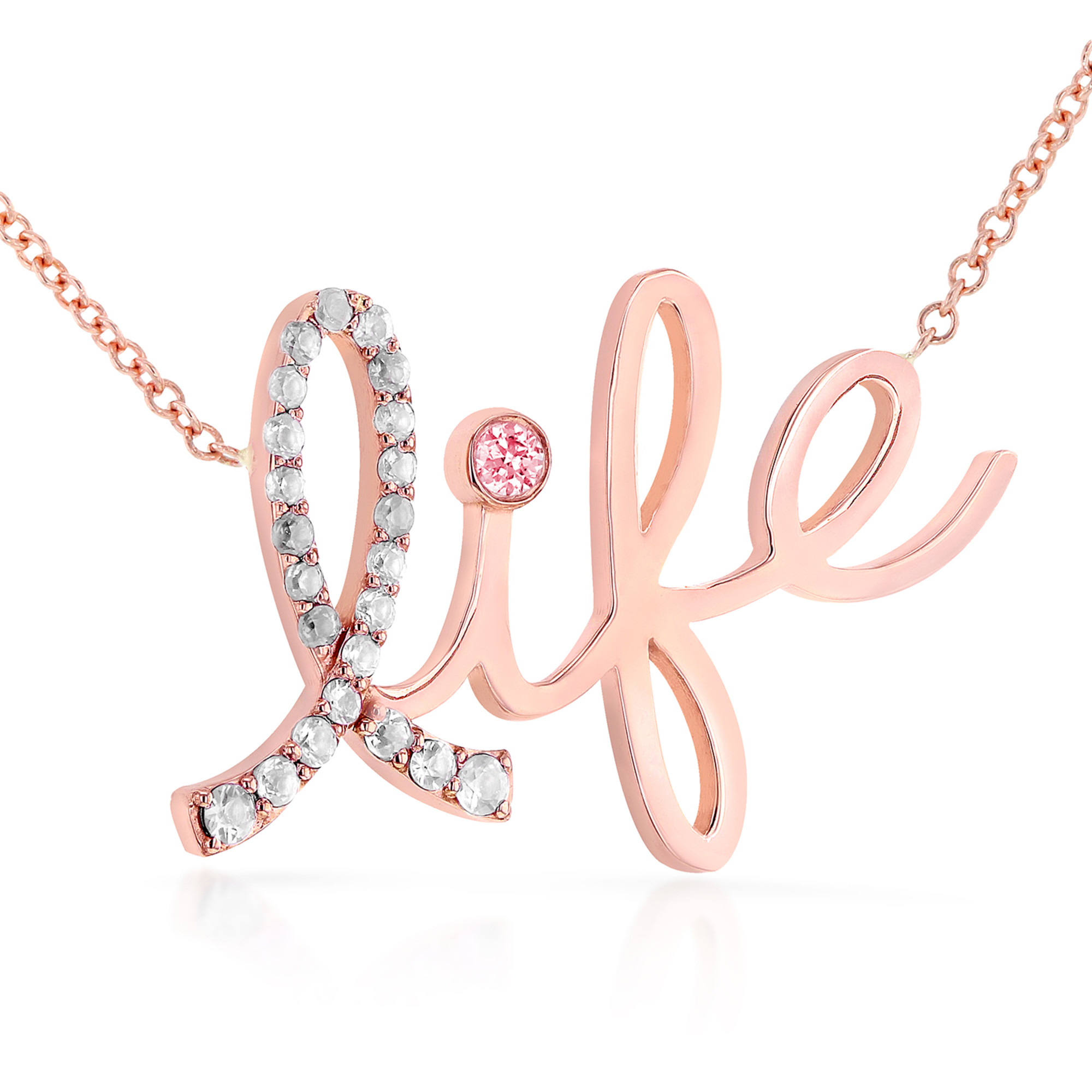 """Diamond & Pink Sapphire """"Life"""" Necklace 1 6 Carat (ctw) in 14k Rose Gold (16"""" Chain) by"""