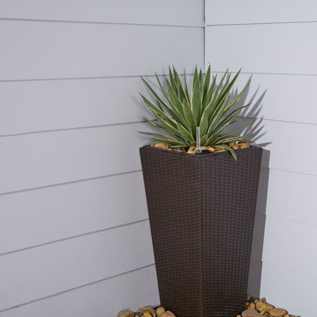 Bloomington 17 x 17 x 31 Cubico Wicker Smart Self-Watering Planter in Espresso ()