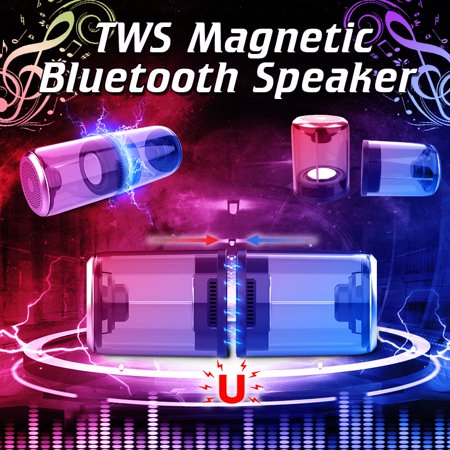 2 in 1 D08 TWS Hi-Fi Magnetic Speaker Loudspeaker Sound Box Waterproof 3D Stereo Surround Outdoor Portable Speaker with Mic Subwoofer AUX for Shower Pool