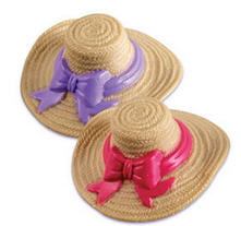 12 pk Pink and Purple Straw Hat Cake Adornments (1 inch)