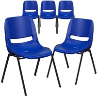 Flash Furniture HERCULES Series 5 Pack 880 lb. Capacity White Ergonomic Shell Stack Chair with Gray Frame