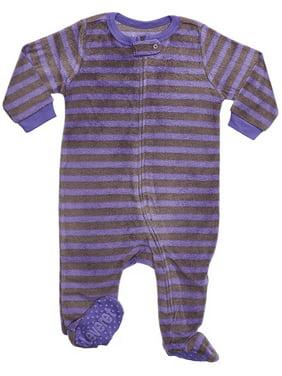 Leveret Fleece Footed Pajama Sleeper Purple & Grey 2 Years