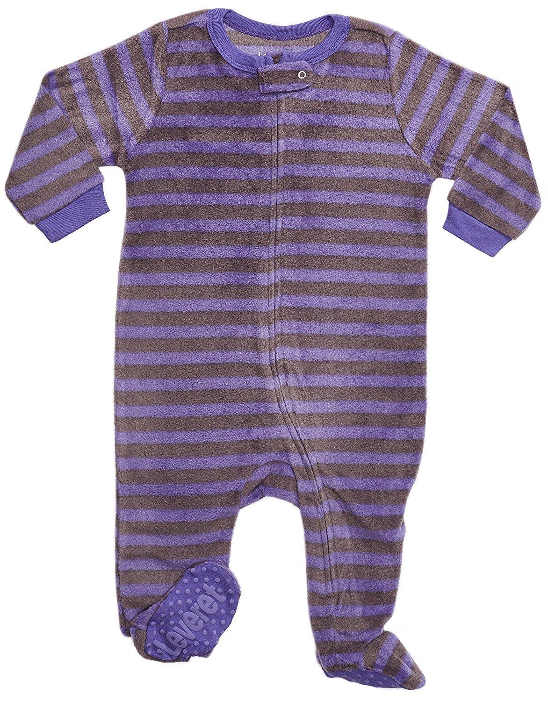 Leveret Fleece Footed Pajama Sleeper Purple & Grey 4 Years