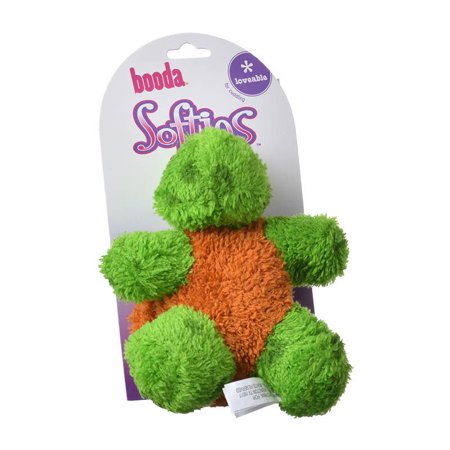 Booda Products-Softies Terry Toby Turtle Dog Toy- Green/brown 9x5x3 In