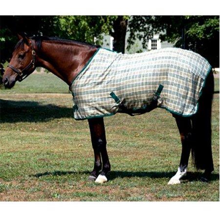 High Spirit Horse Equipment HS74G 74 in. Horsemans Plaid Cotton Sheet - Hunter Green &