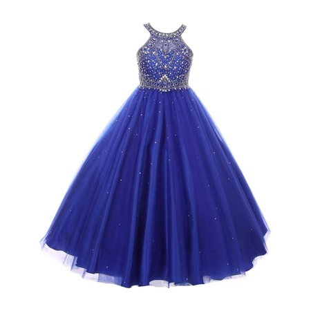 a9c4db02a6b Cinderella Couture - Girls Royal Blue Dazzling Halter Beaded Tulle Special  Occasion Dress - Walmart.com
