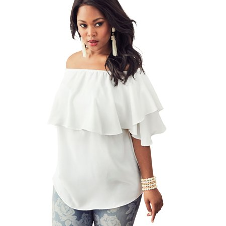 2eb33be729071 Roaman's - Roaman's Plus Size Off-the-shoulder Ruffle Top - Walmart.com