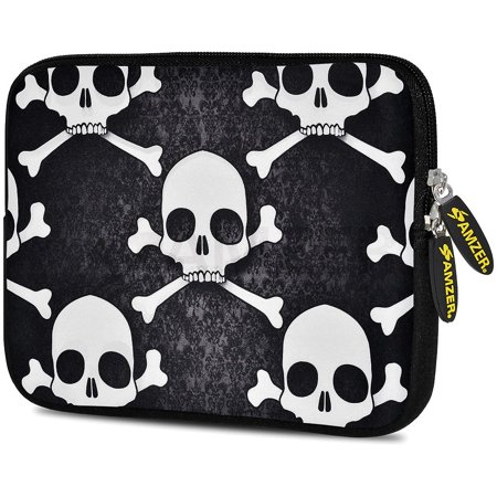 Designer 7.75 Inch Soft Neoprene Sleeve Case Pouch for Alcatel ONETOUCH POP 7 LTE, Acer Iconia One 7, LG G Pad, Amazon Fire 7, Kindle/ Kindle HD 7, RCA 7 Tablet -  Skull Cross (Turn Off Voice Control On Kindle Fire)