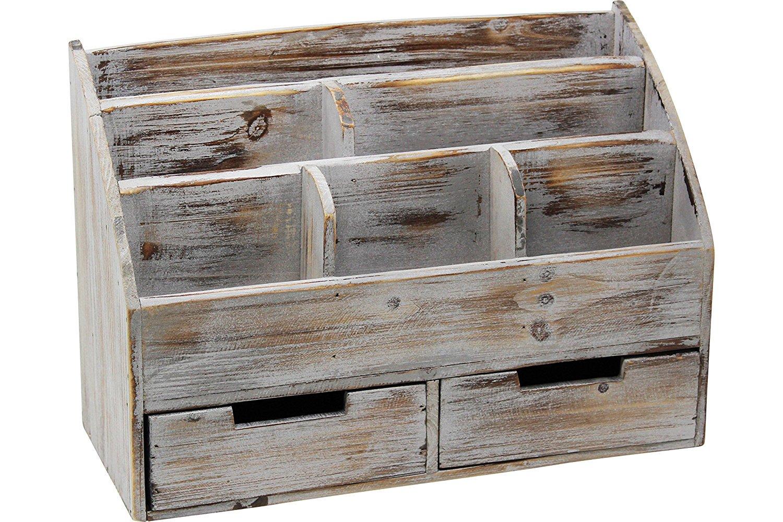 Vintage Rustic Wooden Office Desk Organizer U0026 Mail Rack For Desktop,  Tabletop, Or Counter