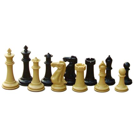 Warlord Staunton Designed Chess Pieces in Natural and Black for School, Clubs and Tournaments