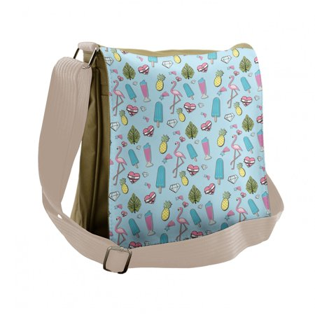 Summer Messenger Bag, Popsicle Flamingo Pineapple, Unisex Cross-body, by Ambesonne