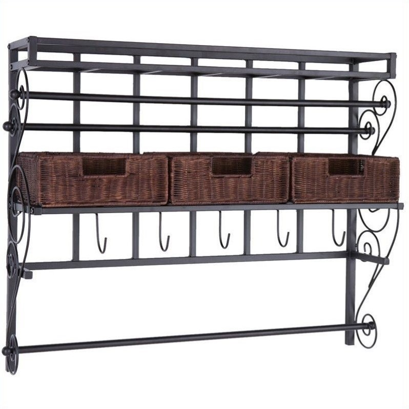 Holly & Martin Olivia Wall-Mount Craft Storage Rack w/ Baskets-Black