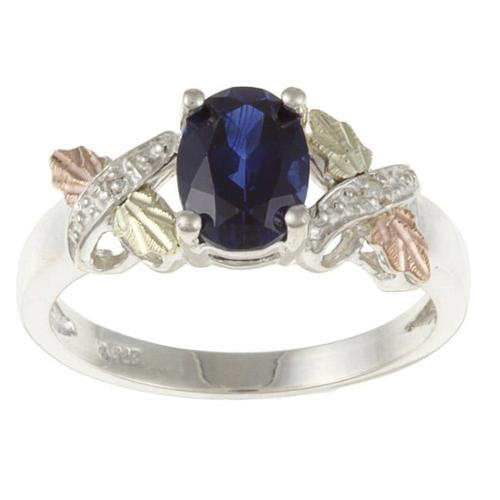 Black Hills Gold and Sterling Silver Created Sapphire and Diamond Accent Ring Size 7