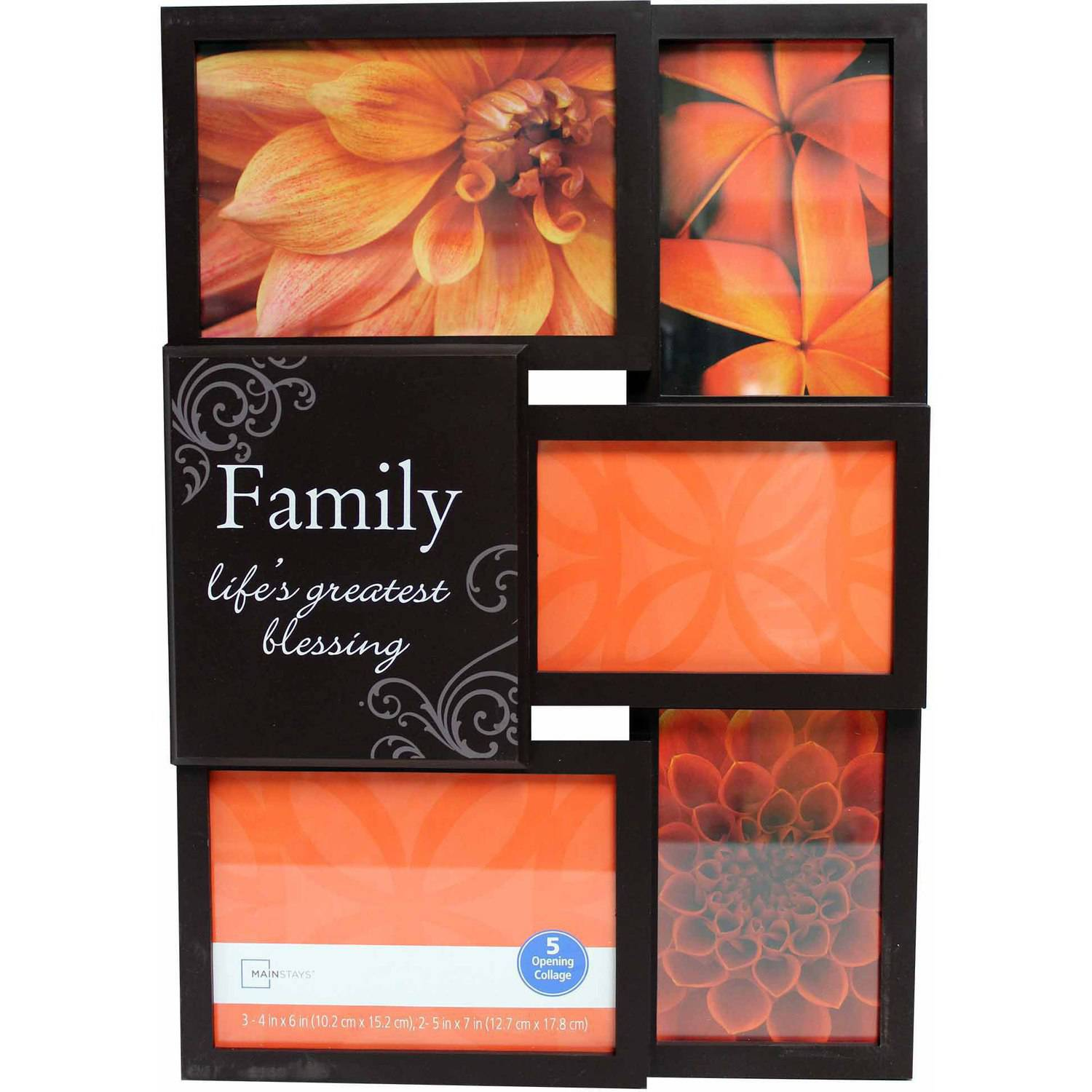 Mainstays 5-Opening Family Collage Picture Frame, Brown
