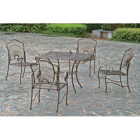 iron 5 piece patio dining set