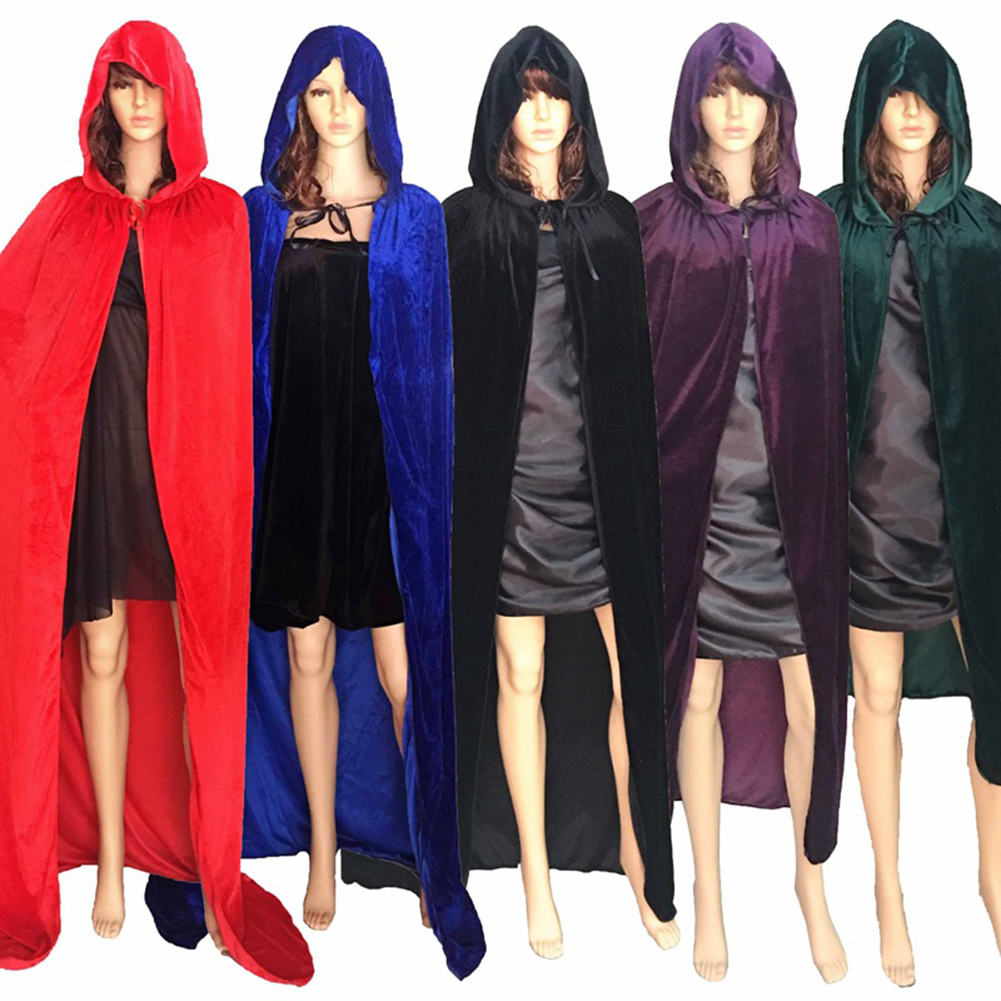 Girl12Queen Adult Halloween Cloak Hooded Floor-length Cape Party Witch Robe Cosplay Costume