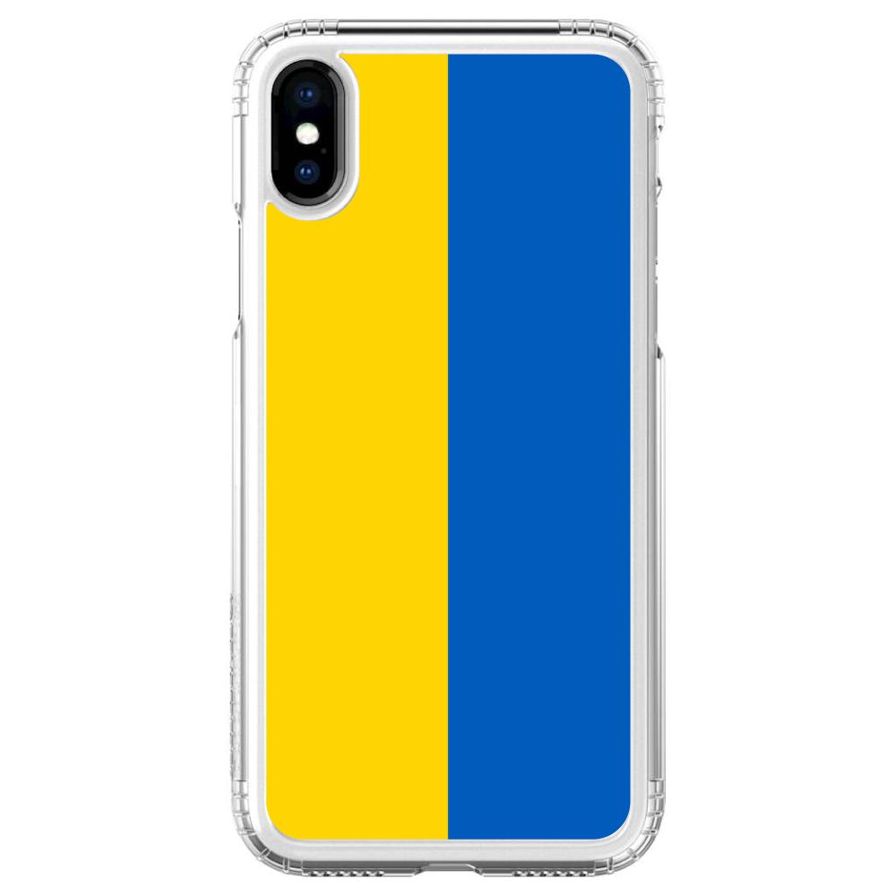 "SaharaCase iPhone X / XS (5.8"" Screen) Clear Shockproof Custom Case By DistinctInk - Protective Kit & ZeroDamage Screen Protector - Ukraine Flag"