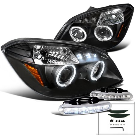 Spec-D Tuning For 2005-2010 Chevy Cobalt Pontiac 2007-2009 G5 Pursuit Projector Black Headlights + Led Bumper Lamp (Left+Right) 2005 2006 2007 2008 2009 (2007 Chevy Cobalt Ss Supercharged For Sale)