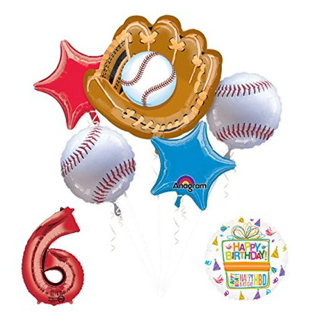 Baseball 6th Birthday Party Supplies and Balloon Bouquet Decorations