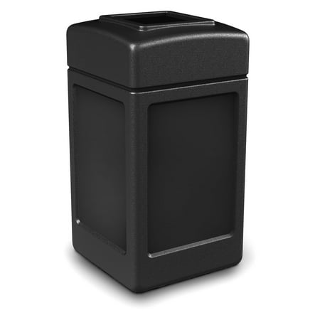 Commercial Zone 42 Gal. Square Waste Container, Open Top Lid, Black