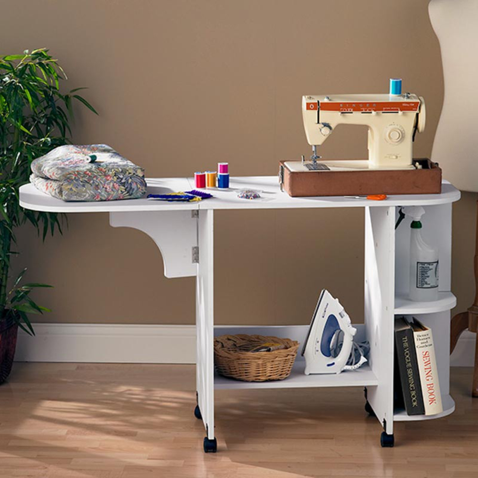 Southern Enterprises Expandable Rolling Sewing Table/Craft Station,White