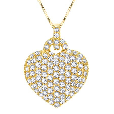 Topaz Bubble - Simulated White Topaz Bubble Heart Pendant Necklace in 14k Yellow Gold Over Sterling Silver (3.5 Cttw)