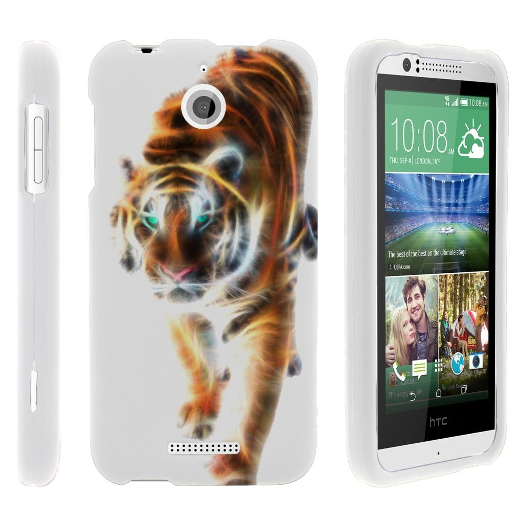 HTC Desire 510, [SNAP SHELL][White] 2 Piece Snap On Rubberized Hard White Plastic Cell Phone Case with Exclusive Art -  Blazing Tiger